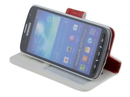 Samsung Galaxy S4 Active I9295 Synthetic Leather Wallet Case with Stand - Pearl White