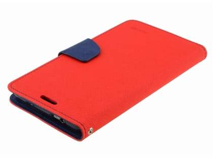 Mercury Colour Fancy Diary Case with Stand for Samsung Galaxy Note 3 - Red/Navy