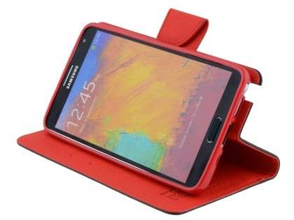 Mercury Colour Fancy Diary Case with Stand for Samsung Galaxy Note 3 - Black/Red