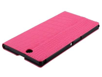 TS-CASE crocodile pattern Genuine leather Wallet Case for Sony Xperia Z Ultra - Pink
