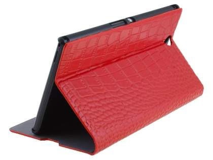 TS-CASE crocodile pattern Genuine leather Wallet Case for Sony Xperia Z Ultra - Red