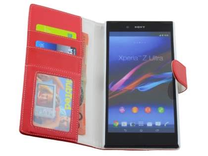 Slim Synthetic Leather Wallet Case with Stand for Sony Xperia Z Ultra - Red
