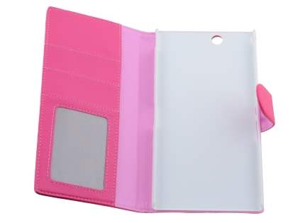 Slim Synthetic Leather Wallet Case with Stand for Sony Xperia Z Ultra - Pink