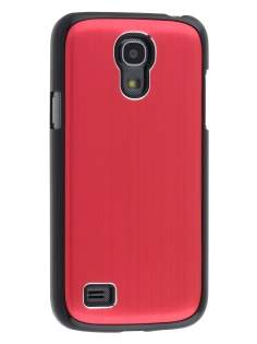 Brushed Aluminium Case for Samsung Galaxy S4 mini - Red/Black Hard Case
