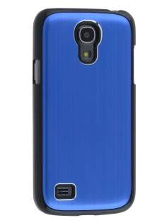 Brushed Aluminium Case for Samsung Galaxy S4 mini - Navy Blue/Black Hard Case