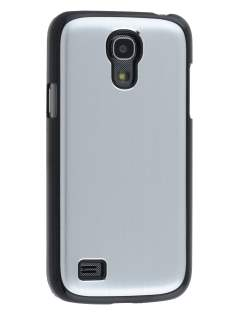 Brushed Aluminium Case for Samsung Galaxy S4 mini - Silver/Black Hard Case