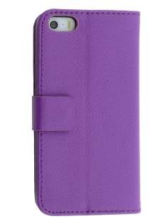 Synthetic Leather Wallet Case with Stand for iPhone SE/5s/5 - Purple Leather Wallet Case