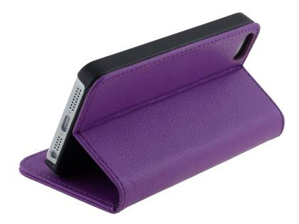 Synthetic Leather Wallet Case with Stand for iPhone SE/5s/5 - Purple