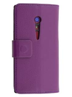 Synthetic Leather Wallet Case with Stand for Sony Xperia ion LTE lt28i - Purple Leather Wallet Case