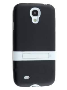 Frosted TPU Case with Stand for Samsung Galaxy S4 I9500 - Classic Black/White