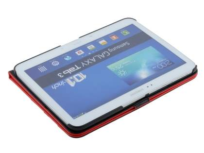 Samsung Galaxy Tab 3 10.1 Synthetic Leather Flip Case with Dual-Angle Tilt Stand - Red