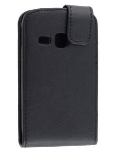 Synthetic Leather Flip Case for Samsung Galaxy Young S6310 - Classic Black