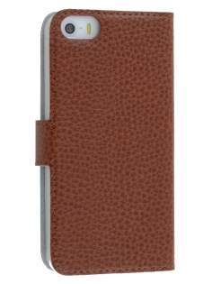 Genuine Textured Leather Wallet Case for iPhone SE/5s/5 - Brown Leather Wallet Case