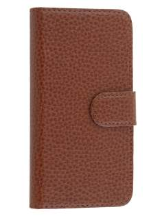 Genuine Textured Leather Wallet Case for iPhone SE/5s/5 - Brown