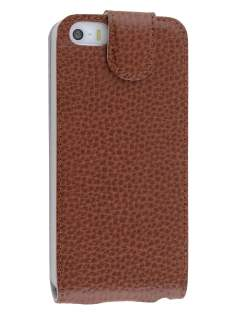 Premium iPhone SE/5s/5 Slim Textured Genuine Leather Flip Case - Brown Leather Flip Case