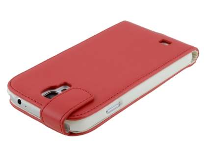 Samsung I9500 Galaxy S4 Synthetic Leather Flip Case - Red