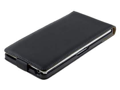 Slim Genuine Leather Flip Case for Sony Xperia Z1 - Classic Black