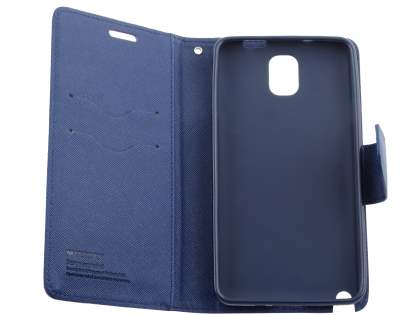 Mercury Colour Fancy Diary Case with Stand for Samsung Galaxy Note 3 - Mint/Navy