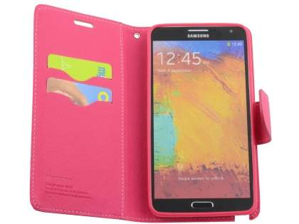 Mercury Colour Fancy Diary Case with Stand for Samsung Galaxy Note 3 - Pink/Hot Pink