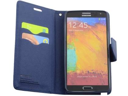 Mercury Goospery Colour Fancy Diary Case with Stand for Samsung Galaxy Note 3 - Blue/Navy