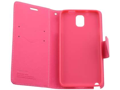 Mercury Colour Fancy Diary Case with Stand for Samsung Galaxy Note 3 - Yellow/Hot Pink