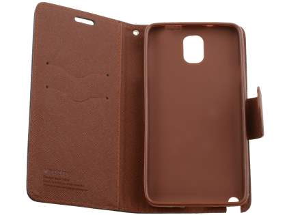 Mercury Goospery Colour Fancy Diary Case with Stand for Samsung Galaxy Note 3 - Black/Brown