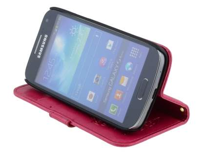 Synthetic Leather Wallet Case with Stand for Samsung Galaxy S4 mini - Pink