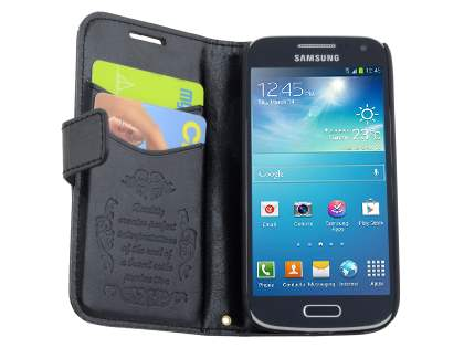 Samsung Galaxy S4 mini Slim Synthetic Leather Wallet Case with Stand - Classic Black