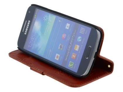 Samsung Galaxy S4 mini Slim Synthetic Leather Wallet Case with Stand - Brown