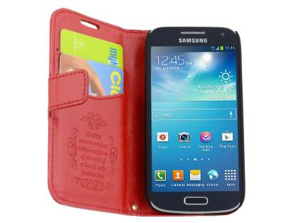 Synthetic Leather Wallet Case with Stand for Samsung Galaxy S4 mini - Red