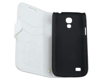 Samsung Galaxy S4 mini Slim Synthetic Leather Wallet Case with Stand - Pearl White