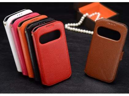 k-cool Samsung Galaxy S4 I9500 Smart Genuine Leather Wallet Case with Stand - Orange