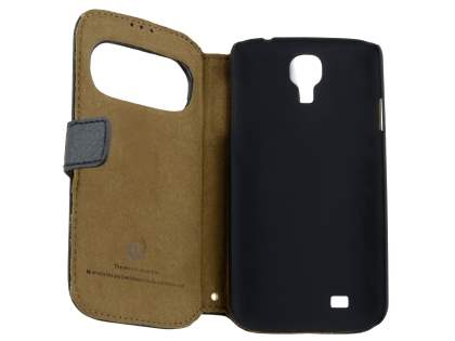 k-cool Smart Genuine Leather Wallet Case with Stand for Samsung Galaxy S4 I9500 - Classic Black