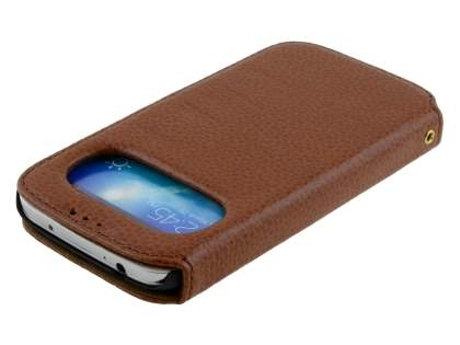 k-cool Samsung Galaxy S4 I9500 Smart Genuine Leather Wallet Case with Stand - Brown
