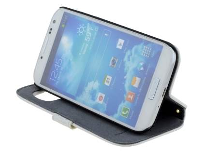 k-cool Samsung Galaxy S4 I9500 Smart Genuine Leather Wallet Case with Stand - Pearl White