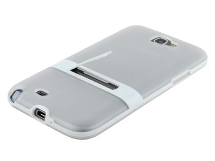Samsung Galaxy Note 2 N7100 Frosted TPU Case with Stand - Frosted Clear/White
