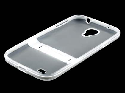 Samsung Galaxy S4 I9500 Frosted TPU Case with Stand - Frosted Clear/White