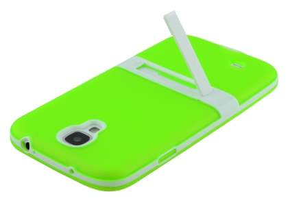 Samsung Galaxy S4 I9500 Frosted TPU Case with Stand - Frosted Green/White