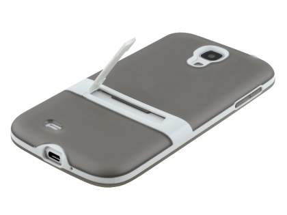 Samsung Galaxy S4 I9500 Frosted TPU Case with Stand - Frosted Grey/White