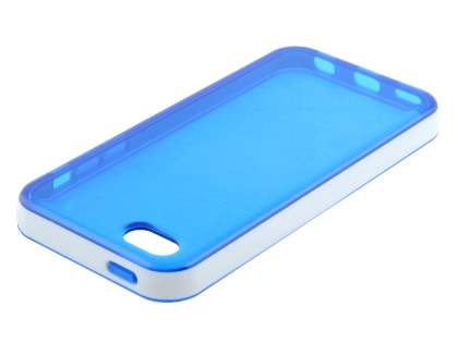 Transparent TPU Gel Case for iPhone 5c - Blue/White
