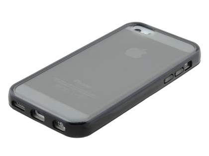 Transparent TPU Gel Case for iPhone 5c - Grey/Black