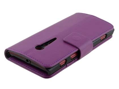 Synthetic Leather Wallet Case with Stand for Sony Xperia ion LTE lt28i - Purple