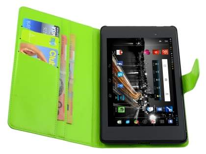 Asus Google Nexus 7 2013 Slim Synthetic Leather Wallet Case with Stand - Lime Green