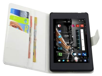 Synthetic Leather Wallet Case with Stand for Asus Google Nexus 7 2013 - Pearl White