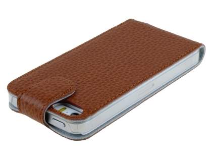 Slim Textured Genuine Leather Flip Case for iPhone SE/5s/5 - Brown