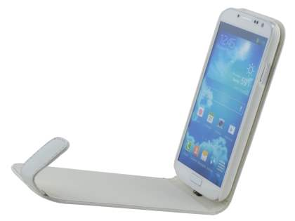 Samsung I9500 Galaxy S4 Synthetic Leather Flip Case - Pearl White