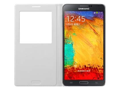 Genuine Samsung Galaxy Note 3 S-View Premium Cover Case - Classic White