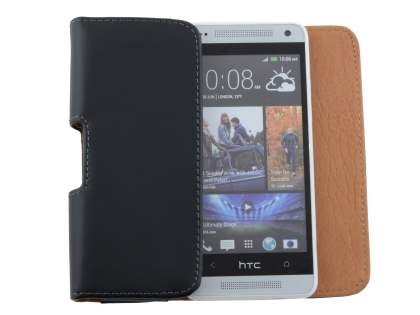Smooth Synthetic Leather Belt Pouch for HTC One Mini M4 - Classic Black