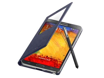 Premium S-View Cover Case for Samsung Galaxy Note 3 - Indigo Blue