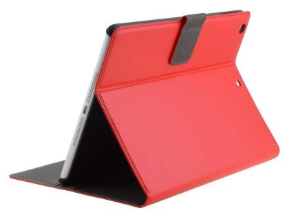 Synthetic Leather Smart Case with Stand for iPad Air 1st Gen - Red Leather Wallet Case